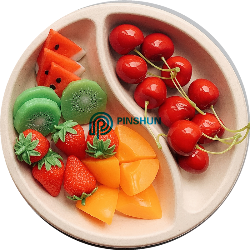 2 compartment  biodegradable  food tray,plate